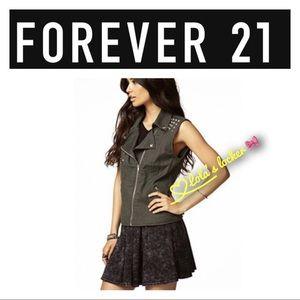 Forever 21 Moto Studded Zip Vest